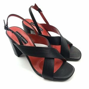 Charles Jourdan Cross Slingback Block Heel Sandal